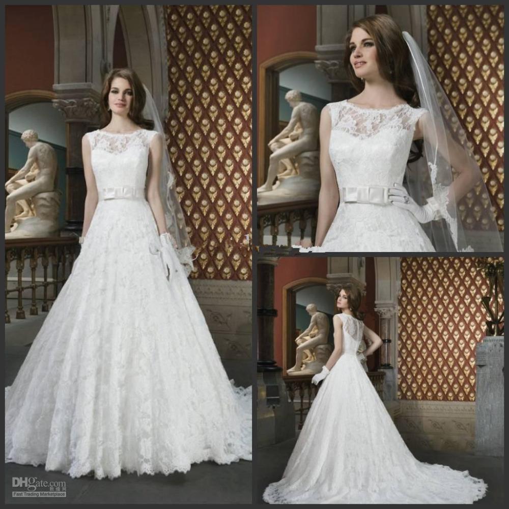 New modest sleeveless bow belt a line lace vintage wedding for Vintage wedding dress belts