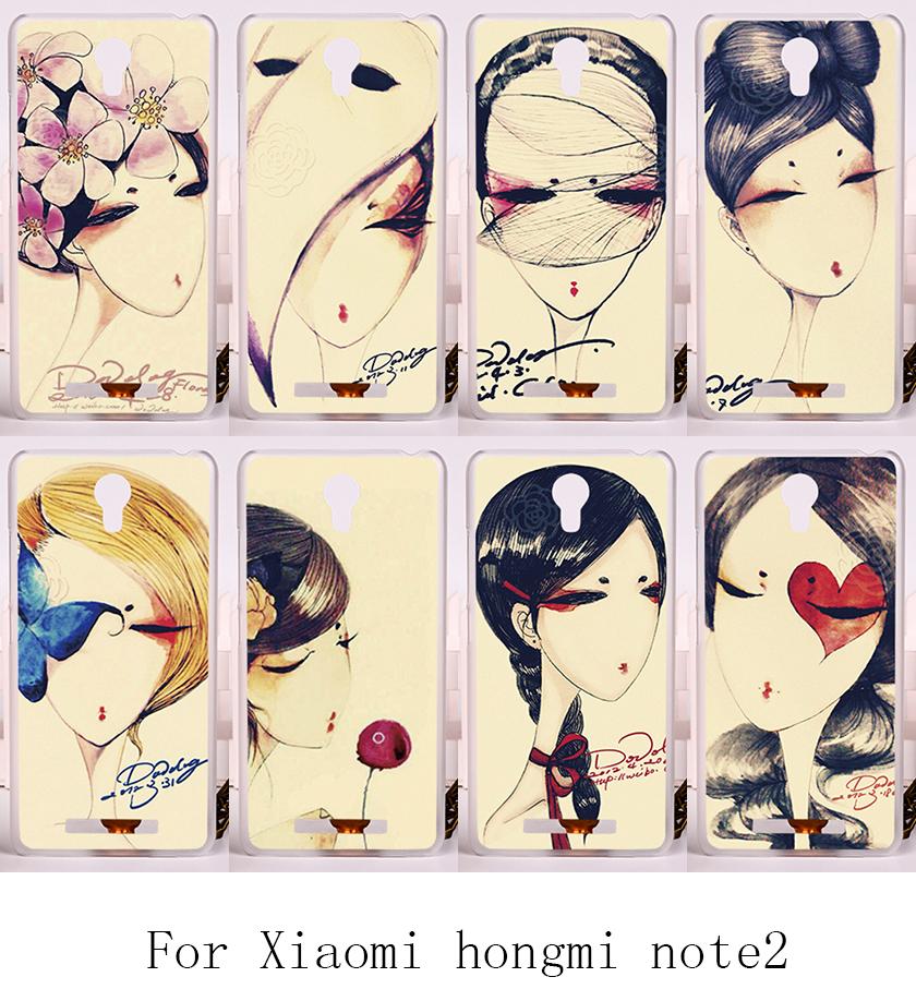 Protective Skin Shell Housing Carcasa For Xiaomi hongmi redmi note 2 Back Cover Retro Woman Print Fashion Design Cell Phone Case(China (Mainland))