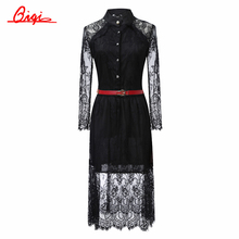 Sale black /white lace stitching Hollow out summer dress 2015 fashion plus size vestidos elegant evening party Casual Dresses(China (Mainland))