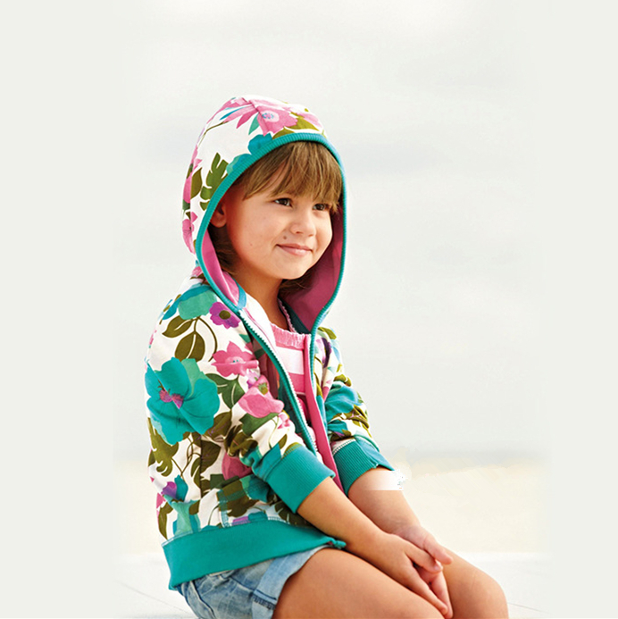 NEW 2015 Baby girl spring & autumn jackets Toddler long sleeve printed flowers hoodies Children coats fashion outerwear(China (Mainland))