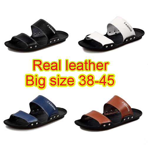2015 summer men sandals genuine leather big size 38 45 fashion beach shoes for men slipppers slip on outdoor flats(China (Mainland))