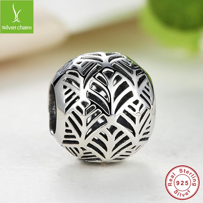 925 Sterling Silver Gold Plated Tropicana Palm Leaf Openwork Charm Fit Original Pandora Bracelet Bangle Authentic Jewelry Gift(China (Mainland))