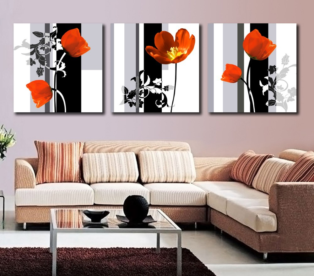 Modern Art High Quality 3 Panel Flower Painting Contemporary Floral Canvas Painting Paint By Number For Living Room Wall Picture(China (Mainland))