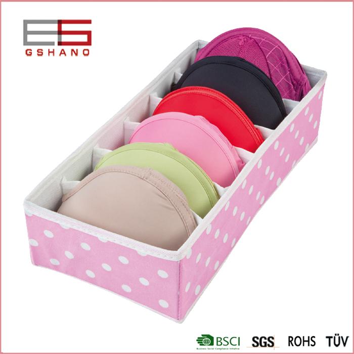 6 Grid Pink Foldable Drawer Divider Storage Box Clothing Organizer Underwear Socks Home Storage Non-Woven(China (Mainland))