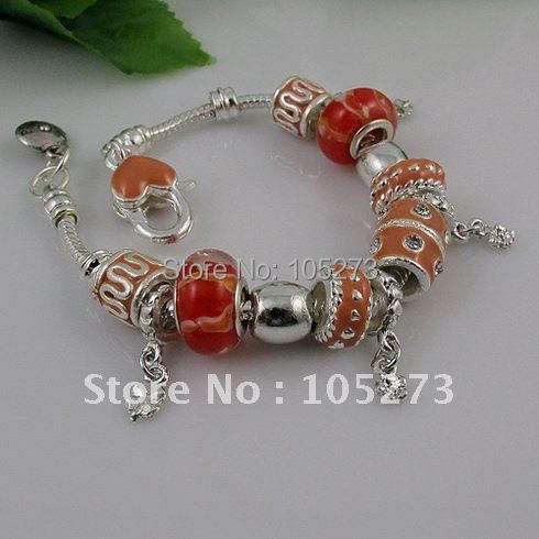 Wholesale Hot sale silver beads glass beads red color bracelet 8inch girls bracelet 10pcs/lot free shipping A1685<br><br>Aliexpress