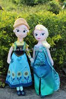 "In Stock Fever Elsa Anna Plush Doll 50CM 40CM 20"" 16"" Elsa Toys Spring Dress Princess Stuffed Brinquedos Birthday Olaf Snowgies"
