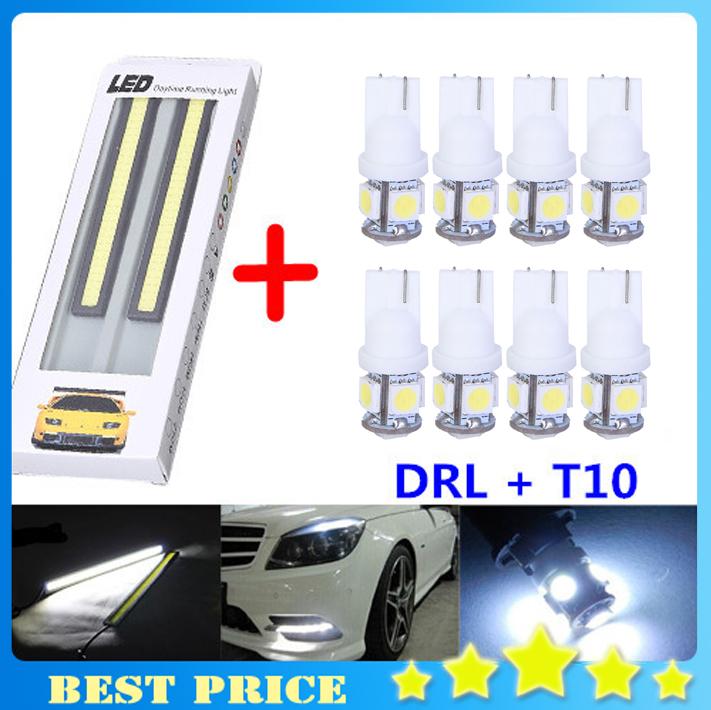 Promotion 1pair DRL + 8pcs T10 Led Car Light 5 SMD Bulbs Car LED Light W5W Wedge Daytime Running Light Auto Led Free Shipping(China (Mainland))