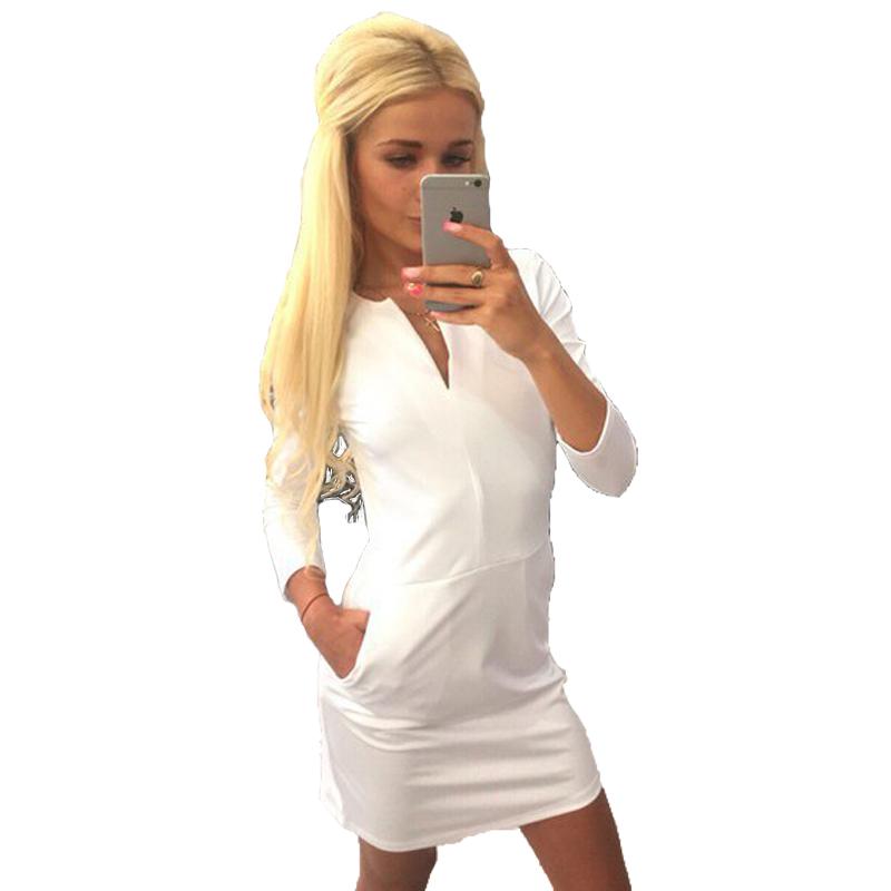 Autunm Women Casual Dress Mini Solid White Pockets V-Neck Full Sleeve Straight Work Dress Women Party Dresses roupa feminina(China (Mainland))
