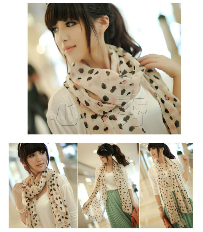New Sweet Women Ladies Love Heart Print Chiffon Shawl Scarf Long Stole Hot Sale(China (Mainland))