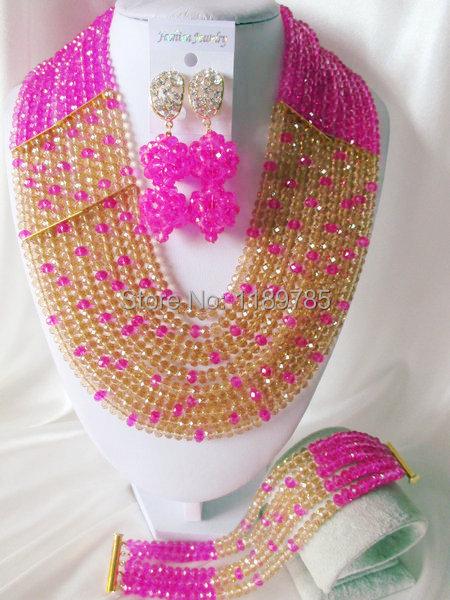 Fashion Nigerian African Wedding Beads Jewelry Set ,Crystal Necklace Bracelet Earrings Set A-4682<br><br>Aliexpress
