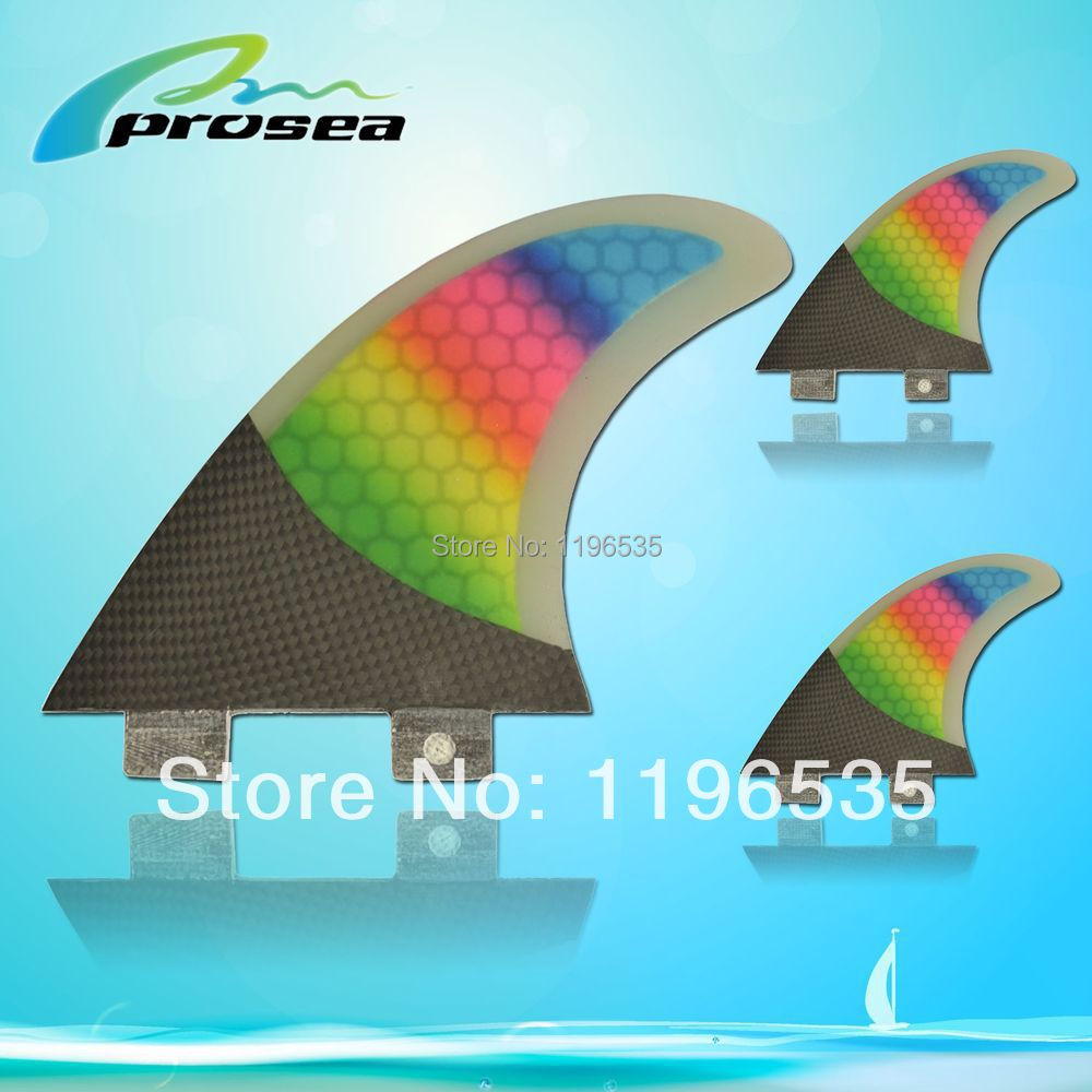 Latest style FCS MR-TFX PC Rainbow surfboard surfing fins with half carbon material(China (Mainland))