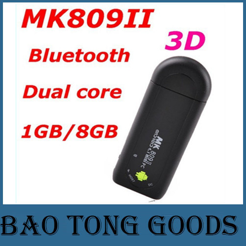 MK809II Android 4.4 Smart Mini PC TV Stick Rockchip RK3066 1.6GHz Cortex A9 Dual Core 1G 8G Bluetooth 3D MK809 II TV Box Dongle(China (Mainland))