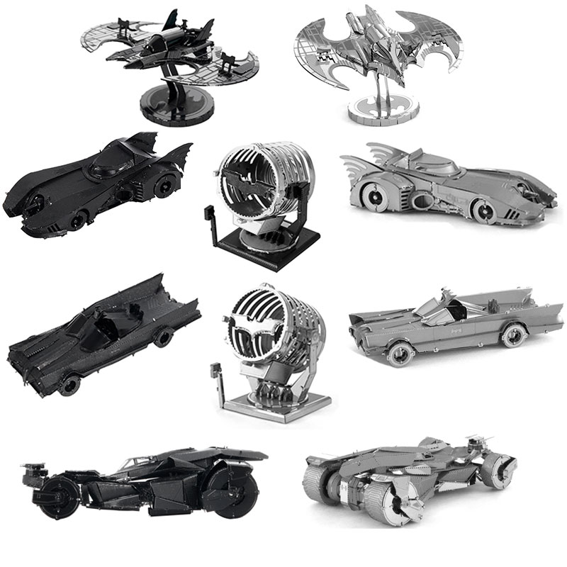 Batman V Superman:Dawn of Justice Batmobile Jigsaw Toy 3D Metal Earth Puzzle Batwing Bat Signal DIY Stainless Steel Model(China (Mainland))