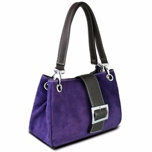 Miss Lulu 2 Pieces Women Real Suede Leather Handbag Top Handle Tote Hand Bag Purple Small Size 20 Colors(China (Mainland))