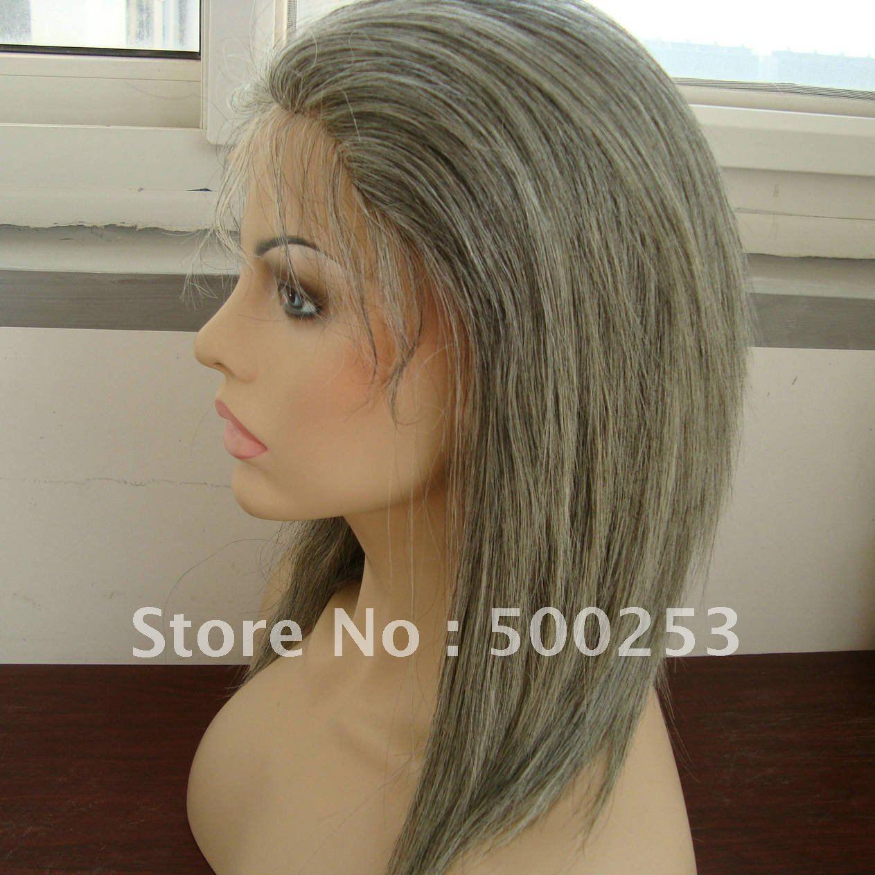 Grey Straight Hair Virgin Malaysian Custom Lace Wigs<br><br>Aliexpress