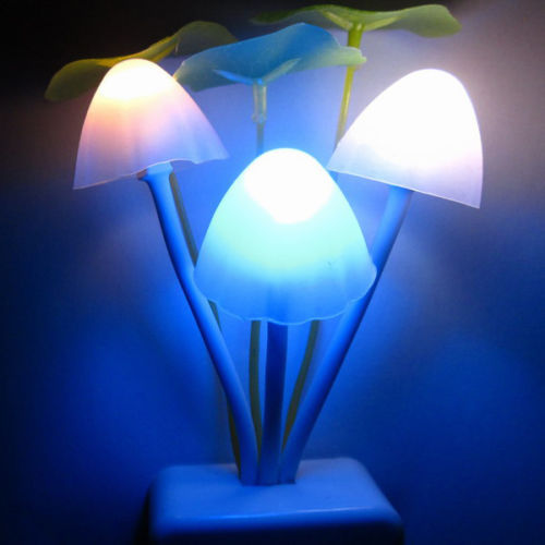EU/US Plug Romantic Colorful Sensor LED Mushroom Night Light Lamp Home Decor(China (Mainland))