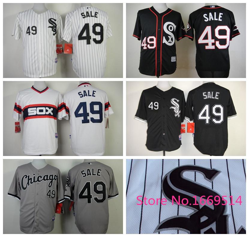 Cheap Wholesale Authentic #49 Chris Sale Jersey Chicago White Sox Baseball Jerseys Cool Base White/Gray,Embroidery Logo,M-3XL(China (Mainland))