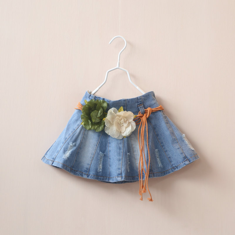 Здесь можно купить  New 2015 spring girls flower belt denim skirt 5pcs/lot  New 2015 spring girls flower belt denim skirt 5pcs/lot  Детские товары