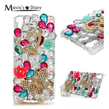 Buy Bling Butterfly Pearl Rhinestone Case Cover Huawei Y6 Scale Transparent Crystal Diamond Hard Back Honor 4A Mobile Phone Skin for $4.56 in AliExpress store