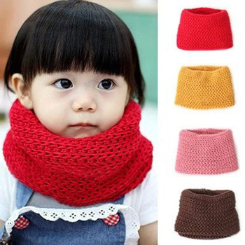 Hot sale 2015 Winter Neckerchief Children's Cotton Muffler Baby bib Warm Soft Boys Scarves Girls Knitted O Ring Scarf 4 Colors