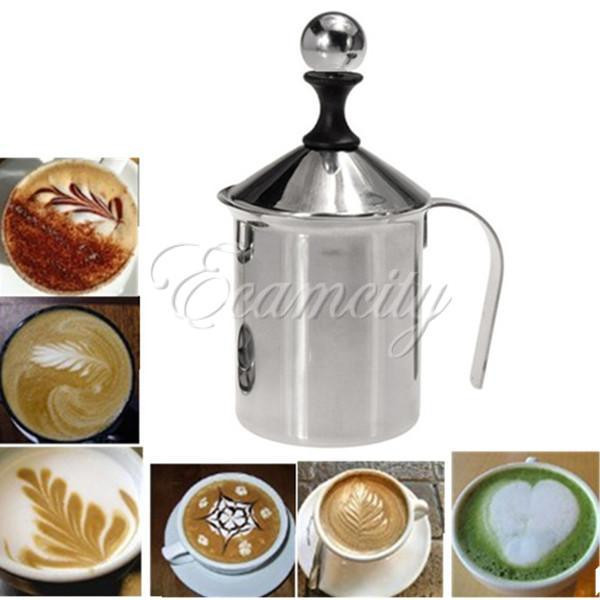 Wholesale Stainless Steel Pump Silver Milk Frother Creamer Foam Cappuccino 400ML Coffee Double Mesh Froth Screen