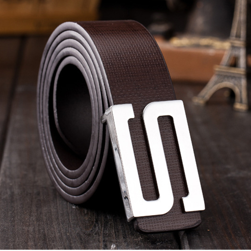 2016 New Brand design S Leather Logo Buckle Belt Men's Waistband hot fashion golf belt for male boy wholesale Free Shipping(China (Mainland))