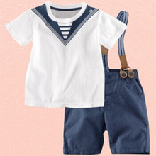 2016 Summer Boy Sailor Clothes Children New Korean Style T Shirt Small Tonggai Military Denim Bib Kid Suit Cotton Baby Clothing