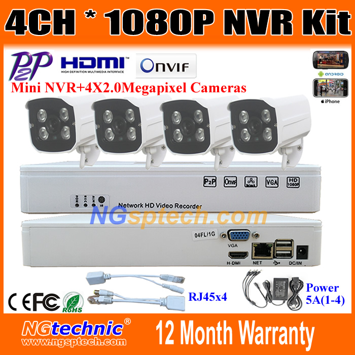 Full HD ONVIF P2P 4CH NVR System Waterproof 2.0MP IP Camera 1080P Outdoor + HDMI 4 Channel Mini Video Recorder H.264 Remote View<br><br>Aliexpress