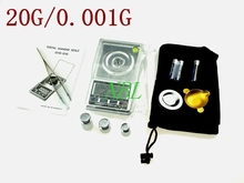 0.001g 20g Pocket Jewelry Scale Carat Balance Mini Electronic White Backlight Weight Balance Scales Gem Diamond Weighing Props