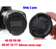 wholesale- 77mm Center Pinch Snap-on Front Lens Cap for Canon Camera with Strap