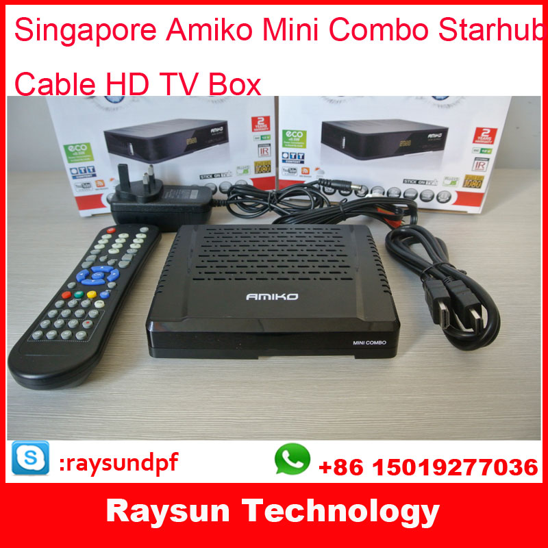 2*Singapore Starhub Amiko Cable Tv Set top Box amiko mini combo HD receiver with free wifi adapter(China (Mainland))