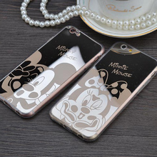 Mirror case Style Cute Sweet Mickey Minnie Mouse TPU Mobile Phone Cases Cover For iPhone 5 5G 5S SE 6 6G 6S 4.7 6Plus 5.5 Inch(China (Mainland))