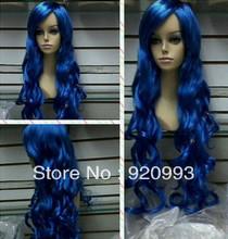 free P&P*******fashion blue curly long Women's hair health Cosplay wig