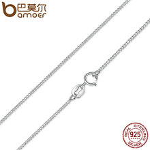 Buy BAMOER Real 925 Sterling Silver Necklace Adjustable Chain Lobster Clasp Simple Chain Fashion Necklace Jewelry 2 Style SCA006-45 for $6.50 in AliExpress store