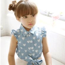 Mode jean bluse jeanshemd für mädchen prinzessin dot drucken kinder blusen& shirts kinder kleidung sommer(China (Mainland))