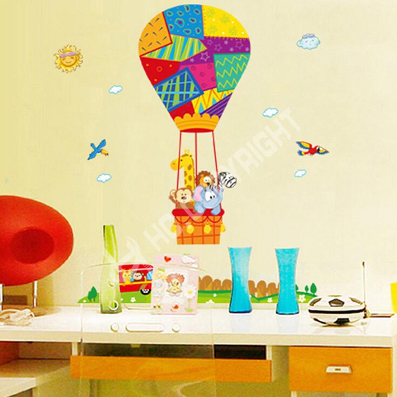 1pc Cartoon Animals Hot Air Balloon Plane Removable Kingdergarten Decal Vinyl Wall Sticker Art Decor Home Decoration(China (Mainland))