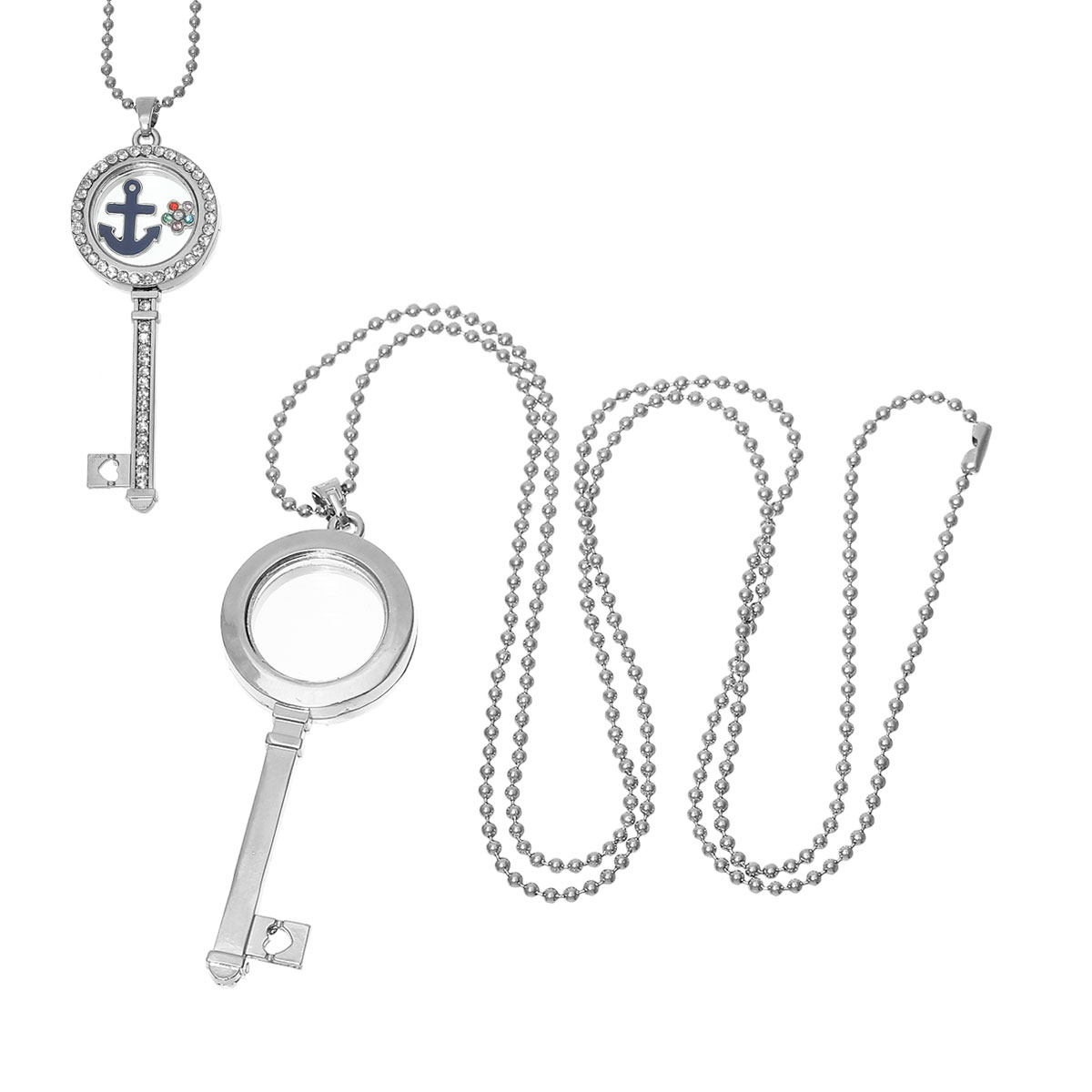 "Magnetic Living Glass Floating Memory Locket Necklace Key Silver Tone Clear Rhinestone 74.5cm(29 3/8"")long,1 Piece 2015 new(China (Mainland))"