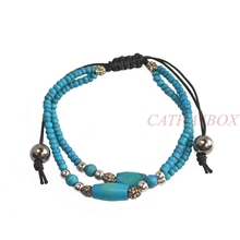 Handmade Tibetan Vintage Look Turquoise Yak Bone Beads Anti. Silver Black Braided Bracelet Adjustable(China (Mainland))