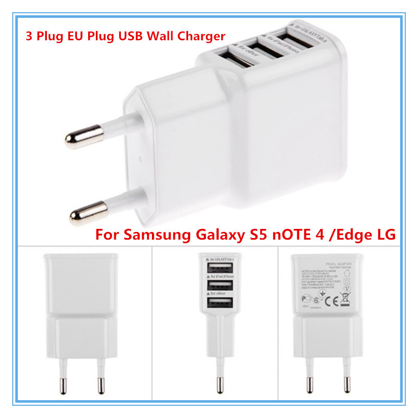 3 Ports EU Plug USB Wall AC Charger Adapter for iPhone 6 5S 5 4S 4 Samsung Galaxy S5 Note 4 Drop Shipping(China (Mainland))