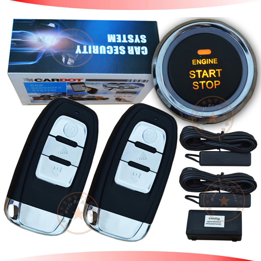 Top universal PKE car alarm with morse decorder one touch start/stop,remote start/stop hopping code security 433.92mhz(China (Mainland))