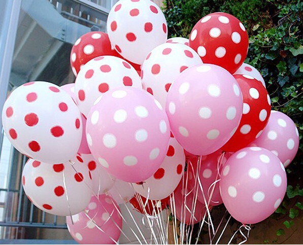 50pcs/lot 15colors Polka Dot Balloons wedding marry marriage room decoration essential 12 inch round ballon classic toys(China (Mainland))