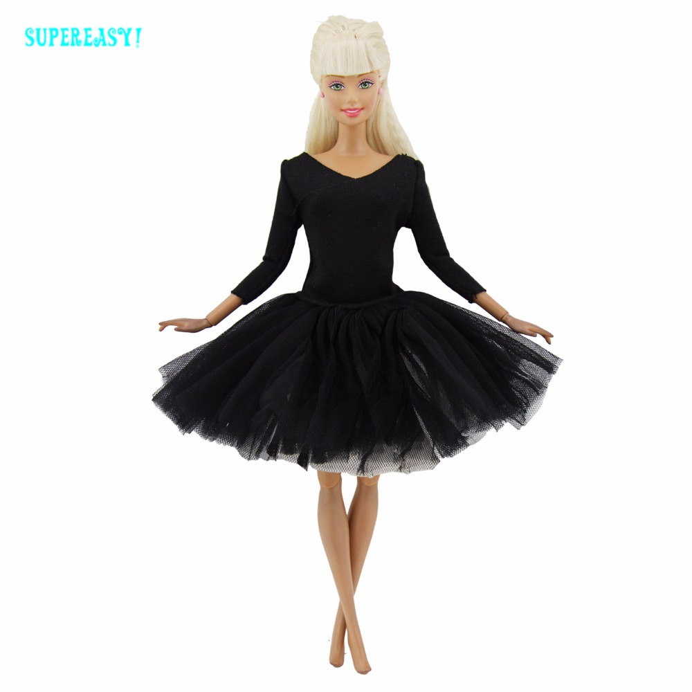 1 Set Mini Costume Dancing Ballet Outfit Handmade Trend Black Occasion Robe Lace Skirt Garments For Barbie Doll Dollhouse Toy Reward