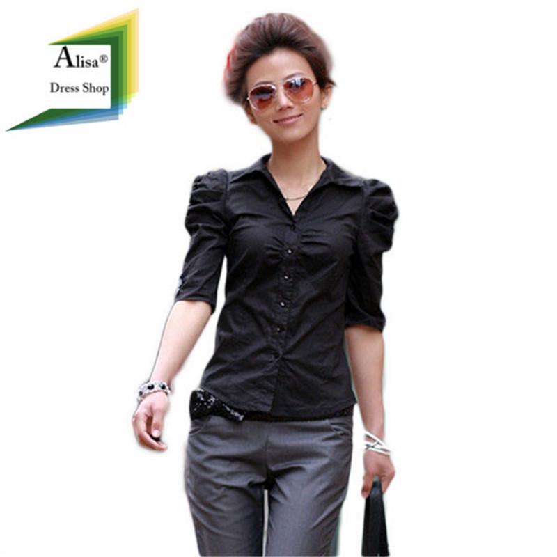 Cheap Clothe Blusas De Verao Camisas Mujer Femininas 2015 Fashion Women Tops Half Sleeve Puff Black Work Shirt Slim White Blouse(China (Mainland))