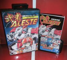 Sega MD game – Aleste with Box and Manual Cartridge for 16 bit Sega MD game card Megadrive Genesis system