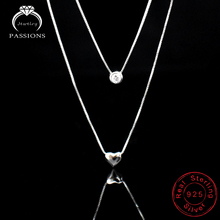 Buy Wholesale Jewelry 925 Sterling Silver Double Layers Collarbone Necklace Chain CZ Love-heart Pendant Necklace Women for $2.98 in AliExpress store