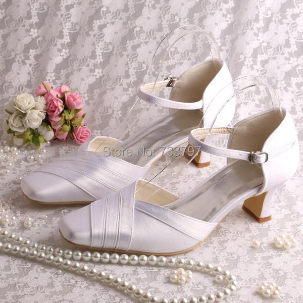Custom Colors Wedding Shoes Accessory Wedding Shoes Wedding: (13 Colors) Custom Satin White Bridal Low Heel Wedding