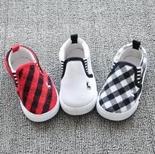 2016 New Spring Autumn Baby Shoes Boys and Girls Fashion Plaid Canvas Shoes Kids Sneakers Sapato Infantil for 1-4T(China (Mainland))