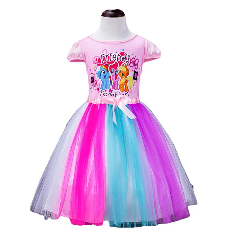 Hot 2016 New Big Kids Girls Dress Little Pony Summer Girl Rainbow Dresses girls cartoon princess For Children Costume Vestidos(China (Mainland))