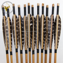 Hot Sale 12 Pcs 85cm arrows Archery Bullet Point Real Turkey Feather Bamboo Arrows For Bow
