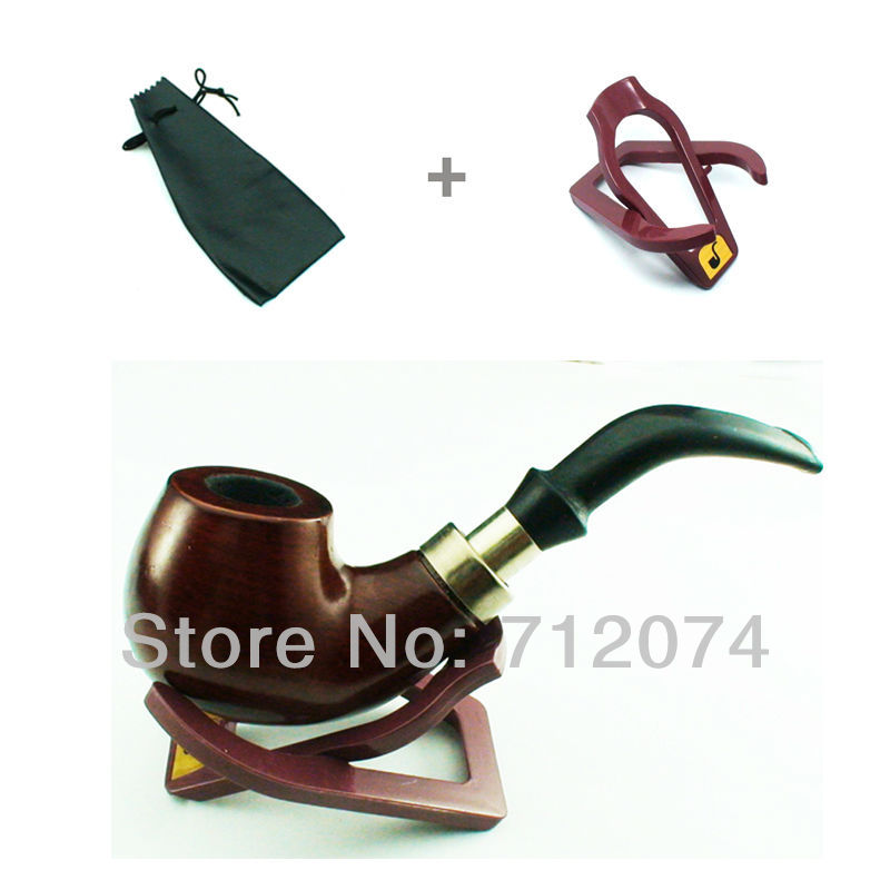 Elegant Vintage Durable Mens Tobacco Wooden Smoking Pipe With Cigar Cigarette Smoking Pipe Stand And Pouch Free Shipping 504(China (Mainland))